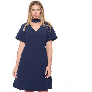 Eloquii Navy High Neck Fit and Flare Dress Sz 14